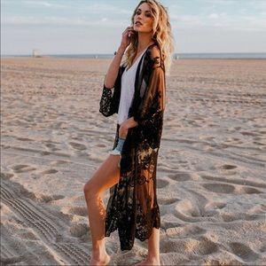 Delicate Black Lace Kimono NEW